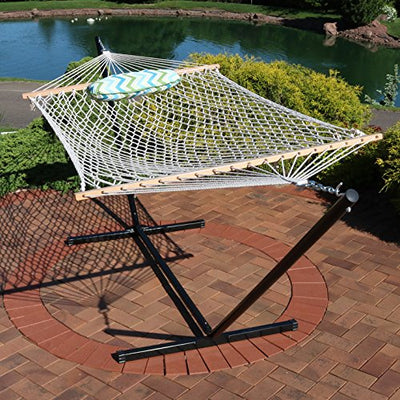 Spreader Bar Cotton Rope Hammock with 12 Foot Portable Steel Stand