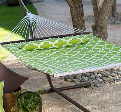 Island Bay 13 ft. Quilted Hammock with Bronze Stand, Apple Green Quatrefoil Pattern