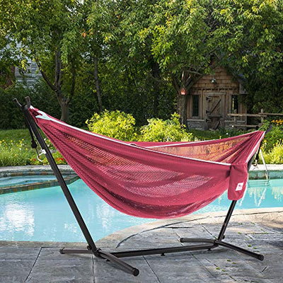 Vivere Mesh Hammock with Stand: Rose and Celeste