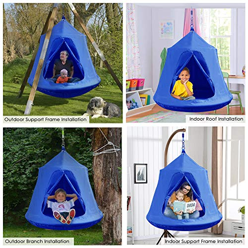 GARTIO Kids Hanging Tree Tent: Blue