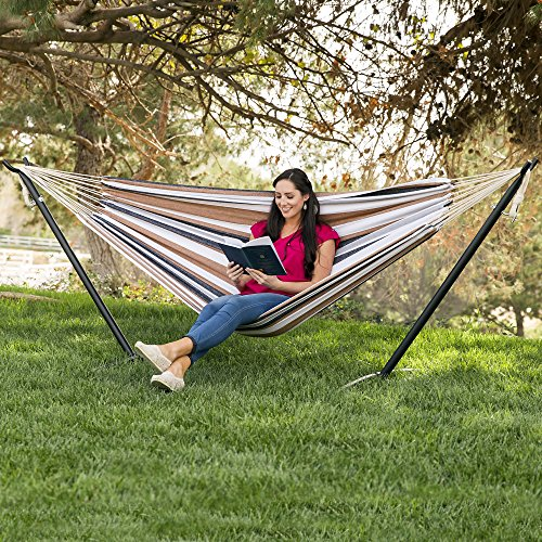 Best Choice Products Double Hammock With Space Saving Steel Stand Includes Portable Carrying Case, Desert Stripe