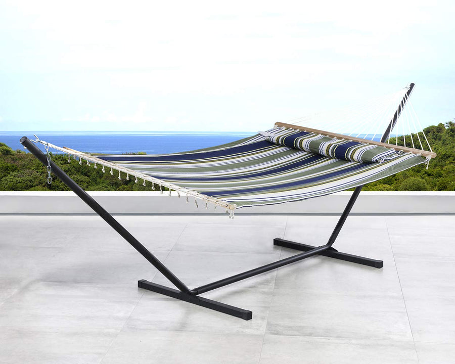 Double Hammock with 12 Foot Steel Stand Includes Quilted Fabric Bed and Pillow