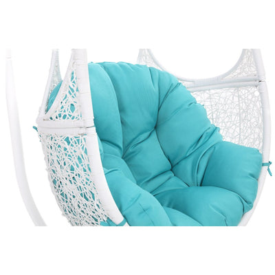 Zuri Furniture Modern Malaga White Basket Swing Chair Teal Cushion