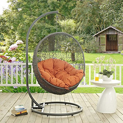 Modway Hide Outdoor Patio Swing Chair: Gray Orange