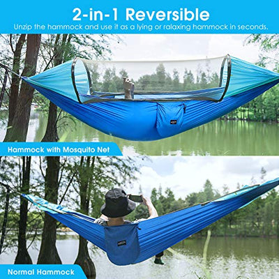 Large Camping Lay Flat Hammock with Mosquito Net 2 Person