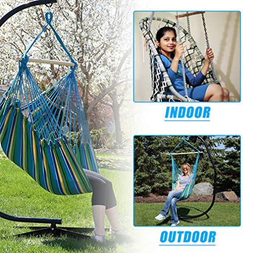 BMS Hanging Hammock Stands Hammock Chair Stands,C Stand Outdoor Solid Steel Heavy Duty Stand Only Construction for Hanging Hammock Air Porch Swing Chair Indoor