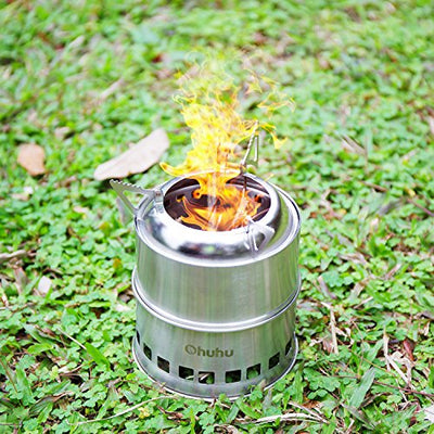 Ohuhu Camping Stove Stainless Steel Backpacking Stove Potable Wood Burning Stoves for Picnic BBQ Camp Hiking