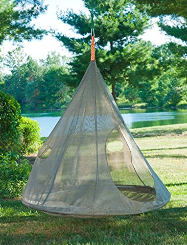 Flower House Teardrop Hanging Hammock Chair, Bark
