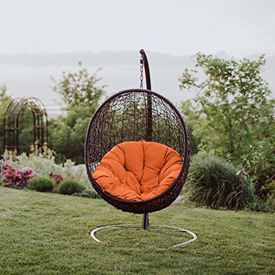 Modway Encase Wicker Rattan Outdoor Lounge Egg Chair with Stand: Orange