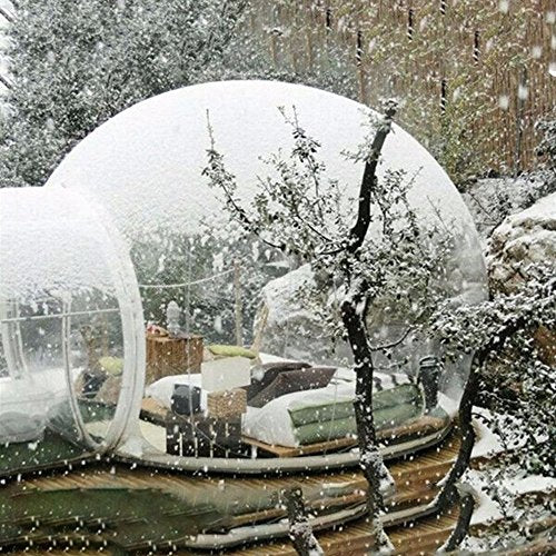 HHAiNi Outdoor Transparent Single Tunnel Inflatable Bubble Tent Family Camping Backyard with Blower