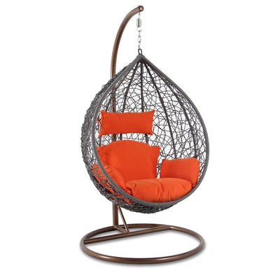 Island Gale Hanging Basket Chair Cushion Replacement with Head Pillow by, Removable Cover, with Attached ties (Orange)