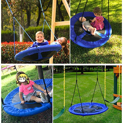 KINDEN Giant 1M/40 Saucer Spinner Swing Round - Tree Swing, Flying Swing with Friends, Family Swing, Detachable Swing, Easy Installation,330lbs Capacity,Blue(Colors May Vary)