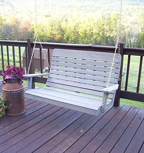 Amish Porch Swing, 4 ft Outdoor Hanging Porch Swings, Traditional Patio Wooden 2 Person Seat Swinging Bench, Pressure Treated Wood (Rustic Gray Stain with Cup Holders and Cushion)