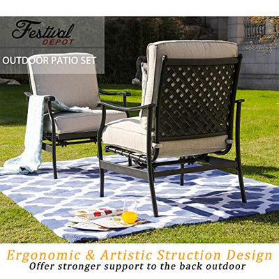 2 of Outdoor Patio Bistro Armrest Chairs with Cushions