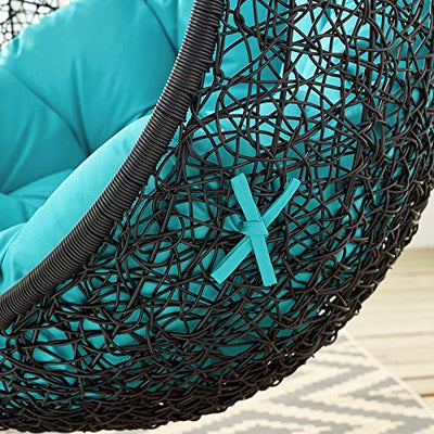 Modway EEI-3636-BLK-TRQ Encase Swing Outdoor Patio Lounge Chair Without Stand, Black Turquoise