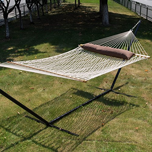 TOUCAN OUTDOOR Cotton Rope Hammock, Poly Fiber Stuffing Pillow, 2 Person,Capacity 450 lbs,for Outdoor Patio, Yard, and Porch