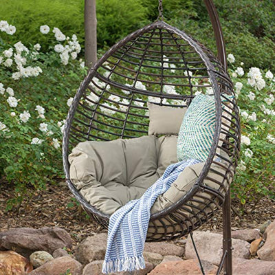 GDF Studio Leasa Outdoor Multibrown Wicker Hanging Basket Chair with Khaki Water Resistant Cushions and Brown Iron Base