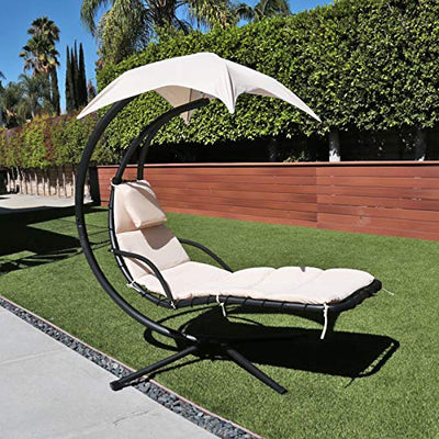 Hanging Chaise Lounger Chair Arc Stand Porch Swing