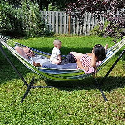 LazyDaze Hammocks Portable Double Size Canvas Hammock with Carry Bag,450 Pounds Capacity (Navy Blue)