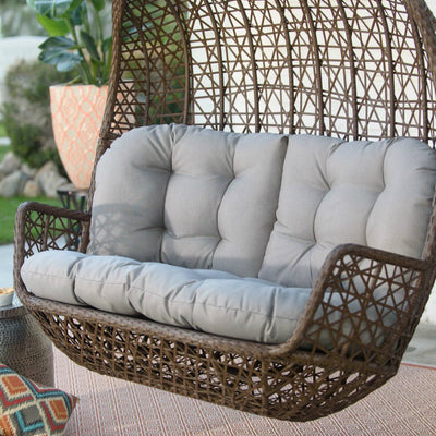 Modern Outdoor Patio Front Porch Swing Loveseat with Cushion