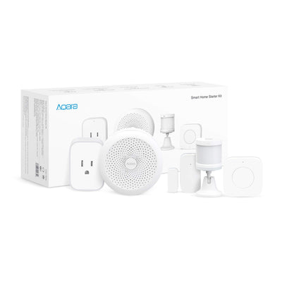 Aqara SHSK-T01 Smart Starter Kit, Zigbee Connection, Local Alarm System, Home Automation, Remote Monitor and Control, 5-Piece, Works with Apple HomeKit, White