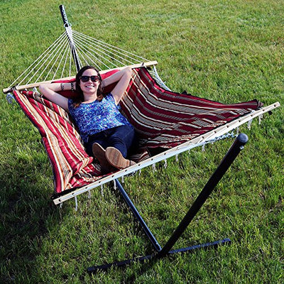 Sunnydaze Cotton Rope Hammock with 12 Foot Portable Steel Stand and Spreader Bar, Indoor or Outdoor Use, Pad and Pillow Included, Awning Stripe