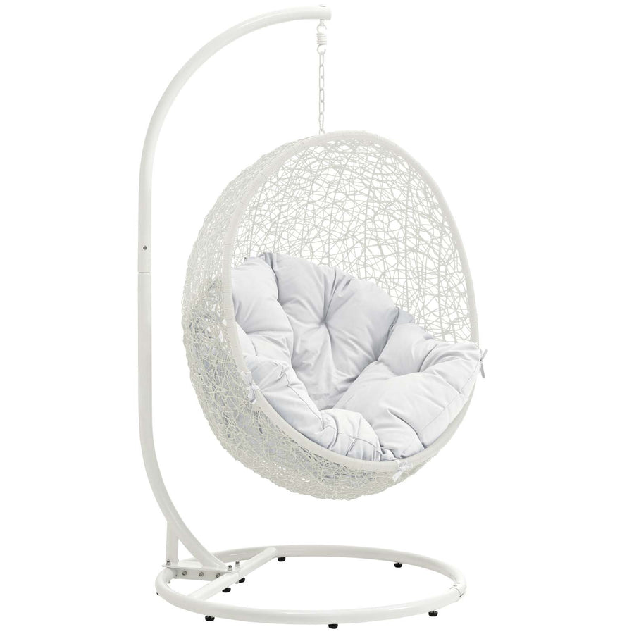 Modway Hide Wicker Rattan Egg Swing Chair: White