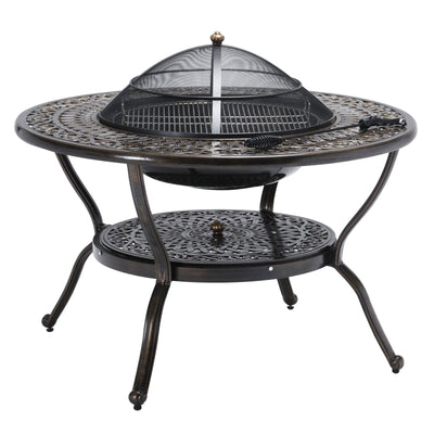 Outdoor Furniture | Island Gale 7-piece Cast Aluminum Dining Set | Round BBQ Table with BARBECUE Kit, Mesh Cover and Storage Shelf | Small Side Table and Ice Bucket, Antique Bronze Finish