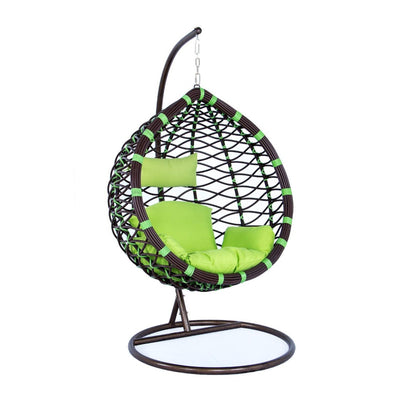 LeisureMod Wicker Hanging Swing Egg Chairs Patio Indoor Outdoor Use Lounge Chair in Green