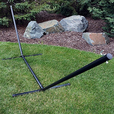 Sunnydaze 12 Foot Hammock Stand with Heavy-Duty Steel Beam Construction, 2 Person, 350 Pound Capacity, Black