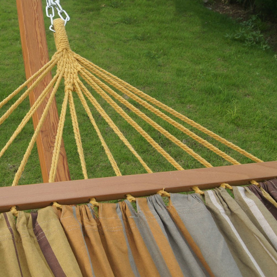 Cotton Single Hammock with 12-Feet Wood Arc Stand