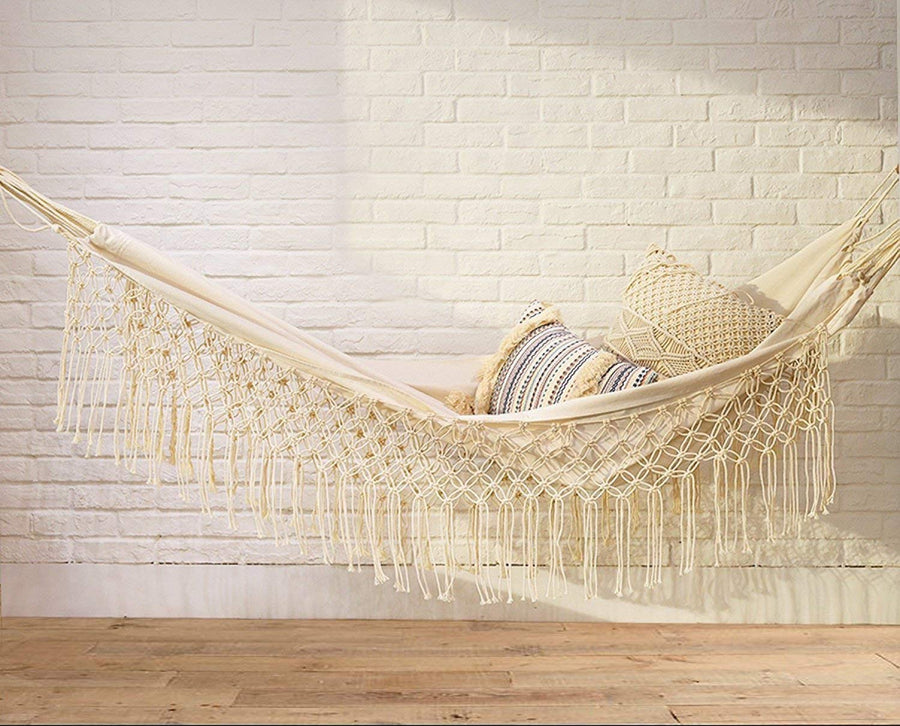 White Bohemian Double Hammock with Fringes