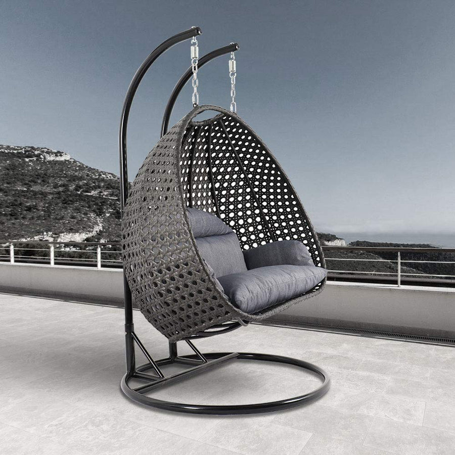 LeisureMod Wicker 2 Person Double Hanging Swing Egg Chair: Charcoal Blue