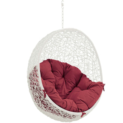 Modway Hide Wicker Rattan Outdoor Patio Porch Lounge Egg Set: Red