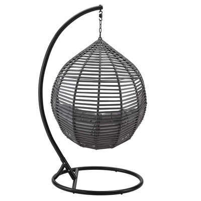 Modway Garner Outdoor Patio Wicker Rattan Teardrop Swing Chair in Gray