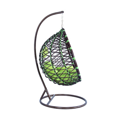 LeisureMod Wicker Hanging Swing Egg Chairs Lounge Chair in Green