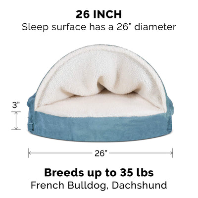 Orthopedic Round Cuddle Blanket Burrow Pet Bed