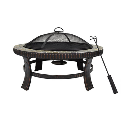Island Gale Outdoor 30'' Natural Slate Fire Pit Table with Spark Screen and Poker, Decorative Ceramic Tile (Round)