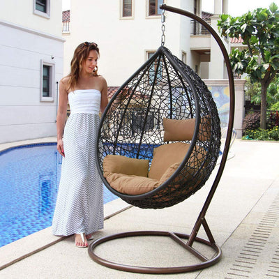 Island Gale Hanging Basket Chair Outdoor Front Porch Furniture with Stand