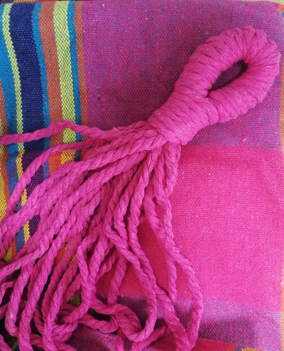 Fringe Hammock Luxury Macrame Cotton Swing Bed: Magenta