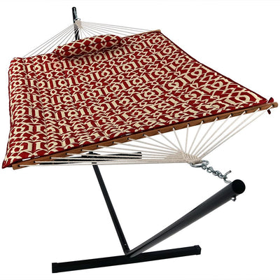 Spreader Bar Cotton Rope Hammock with 12 Foot Portable Steel Stand: Royal Red