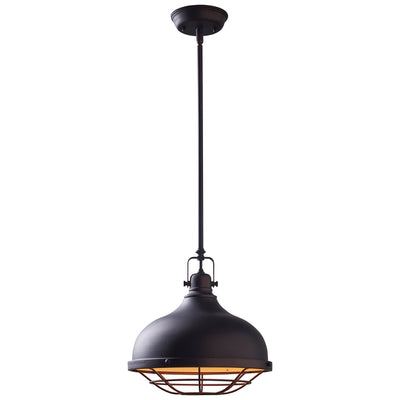 Stone & Beam Industrial Décor Grill Pendant Indoor Ceiling Chandelier Fixture With Light Bulb - 12 Inch Shade, 15 - 63 Inch Cord, Oil-Rubbed Bronze