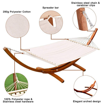 Outdoor Swing Wooden Curved Arc Hammock  with Stand