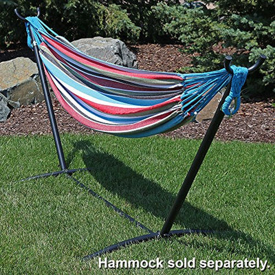 Sunnydaze Brazilian Portable 2 Person Hammock Stand Only with Carrying Case - Space Saving Steel Hammock Stand - Heavy-Duty 400-Pound Capacity - Black