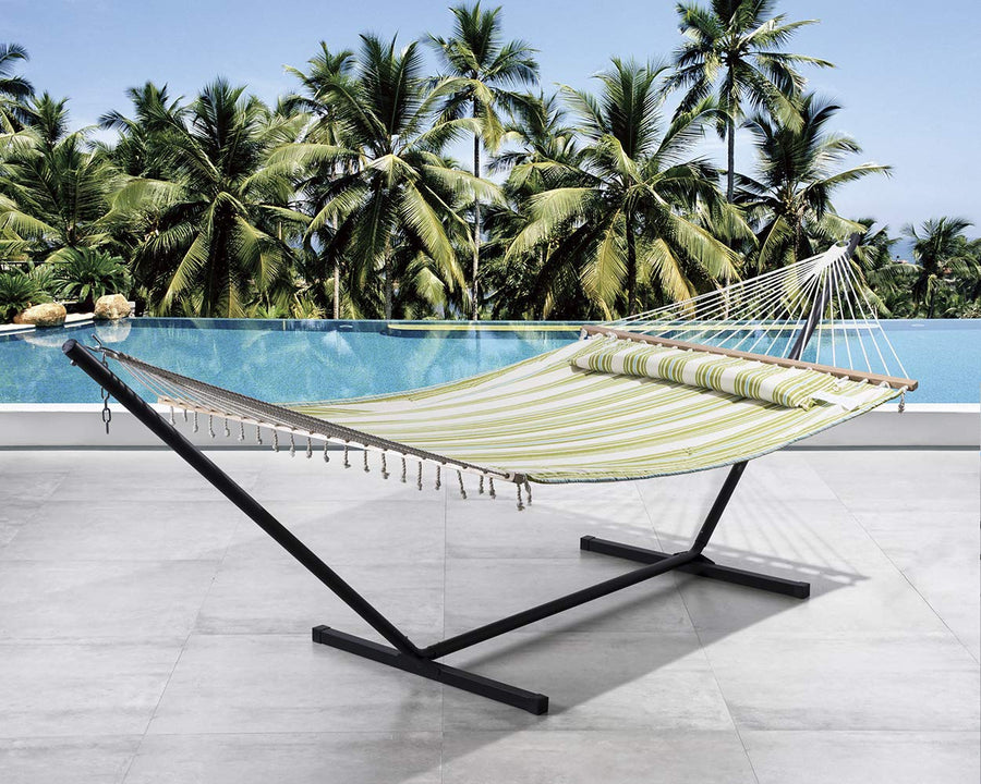 2 Person Double Hammock with 12 Foot Steel Stand: Green & Beige