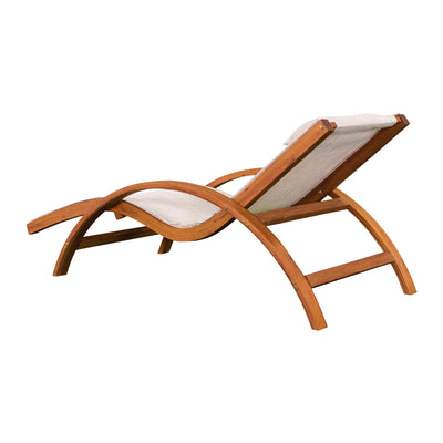 Leisure Season SLC102 Sling Lounge Chair - Brown - 1 Piece - Outdoor Furniture for Patio, Balcony, Lawn, Poolside - Wooden Reclining Lawn Chairs with Arm and Headrest for Sunbathing, Napping, Reading