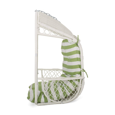 Christopher Knight Home 311859 Becky Wicker Hanging Chair with Cushion (Stand Not Included), White, Green