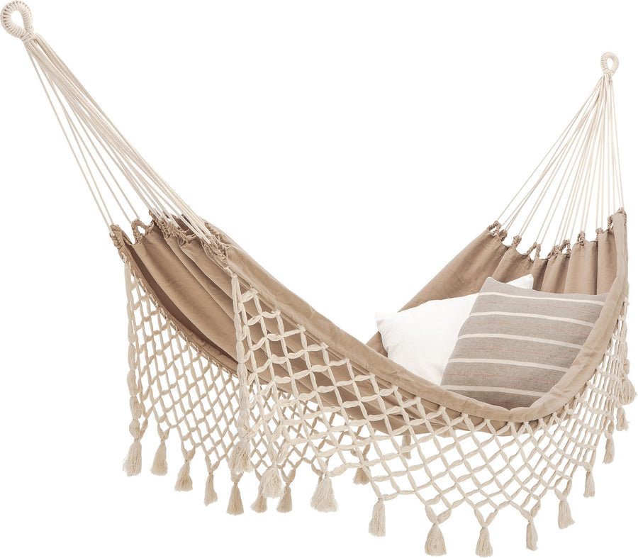 Ecomundy Handwoven Beige Double Hammock with Fringe