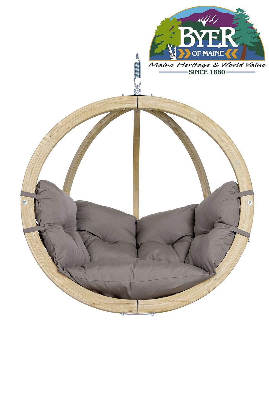 Globo Swing Hanging Chair: Taupe with Soft Cushion