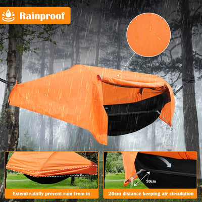Patent Camping Hammock with Mosquito Net and Rainfly Cover: Orange/Grey